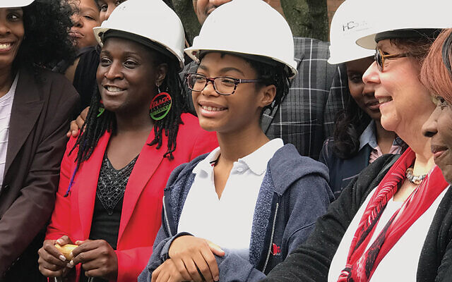 Marsha Atkind and leaders of The HUBB at the groundbreaking for the Trauma Recovery Center at The HUBB, a project providing emotional support to Newark youth who have experienced trauma. The project was seeded and has received several significant grants from HFNJ.