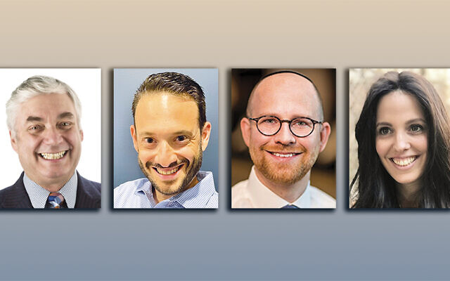 Jay Buchsbaum, left, Jason Hoberman, Dr. David Hoffman, and Leah Kaminer (Photos courtesy JFSCNJ)