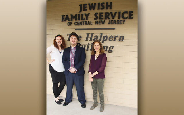 From left, JFSCNJ's licensed social workers, Alyssa Reiner and Gregory Yucht, and Holocaust services department manager Debbie Rosenwein work with survivors.