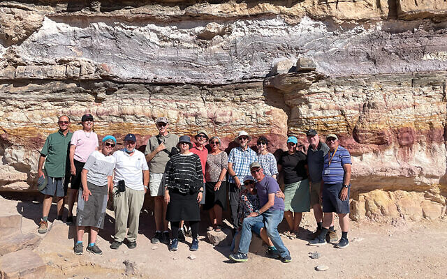 At Makhtesh Ramon with, from left, the Gertlers, the Lipsteins, the Hochhausers, the Schechters, the Steins, the Zlotnicks (in front), the Krugs, and Peter Abelow.