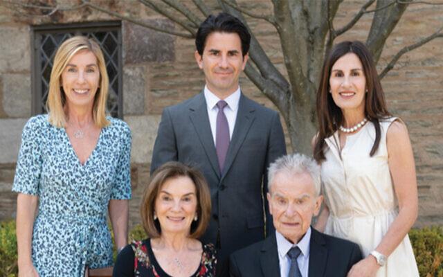 Lisa Kaplan, left, with Jason Kaplan, Amy Kaplan-Schafer, and Helen Kaplan and Michael Kaplan, both seated. (Robert Wood Johnson University Hospital)