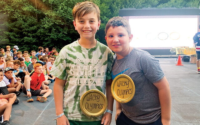 Campers at Nah-Jee-Wah, the Jersey Y camp for kids up to sixth grade, win awards at book of records day.