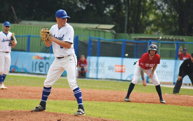 Itai Goldner plays at the European Baseball Championship. (Maya Lowengart)
