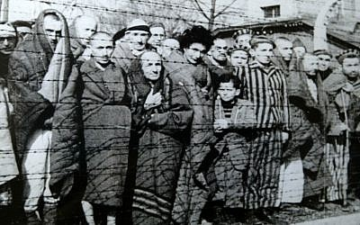 Prisoners at Auschwitz-Birkenau during liberation, in January 1945 (photo credit: Wikimedia Commons)