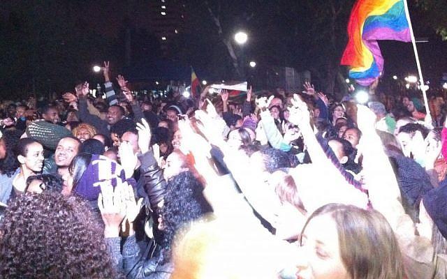 Hundreds rally against racism in Tel Aviv's Gan Meir park (photo credit: Michal Shmulovich)