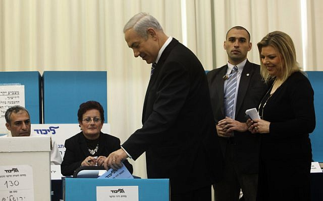 Israeli Prime Minister and Likud party leader, Benjamin Netanyahu casts his ballot at a polling station in Jerusalem.  Photo by Kobi Gideon / Flash90