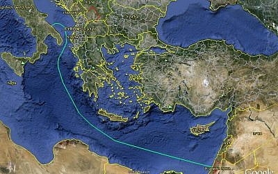 A map of Bezeq's underwater cable communication network (Photo credit: Courtesy)