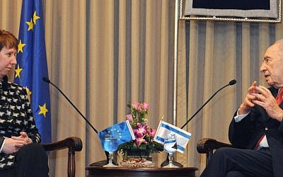 Catherine Ashton with President Shimon Peres earlier this year (photo credit: Courtesy the President's Residence)