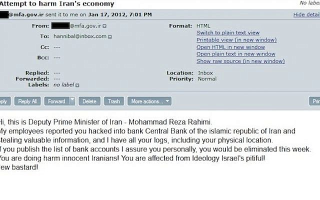 Pro-Israel hacker publishes secret Iranian documents | The Times of