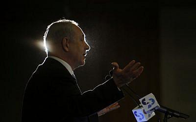 Benjamin Netanyahu speaking Sunday night. (photo credit: Uri Lenz/Flash90)