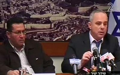 A screen capture of Ofer Eini (left) and Yuval Steinitz at a press conference on Sunday, announcing the general strike has ended