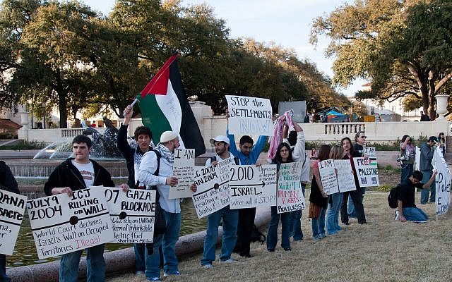 Pro-Palestinian demonstrators during an Apartheid Week event at the University of Texas. (photo credit: CC-BY Monad86, Flickr)