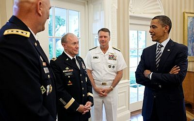 Martin Dempsey, second from left, at a meeting in the White House. (photo credit: Pete Souza/White House)