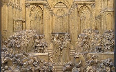 The legendary meeting of King Solomon and Queen of Sheba, on the Paradise Door of the Batisterio San Giovanni in Florence, Italy. (photo credit: CC BY-SA Richardfabi, Wikimedia)