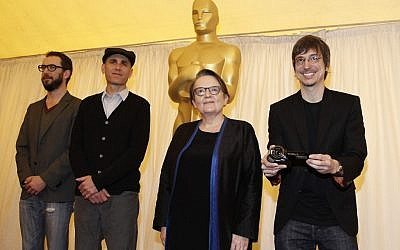 Filmmakers hoping for the Best Foreign Language Film award, including Joseph Cedar (second from left) at a pre-Oscars ceremony (photo credit: AP/Matt Sayles)