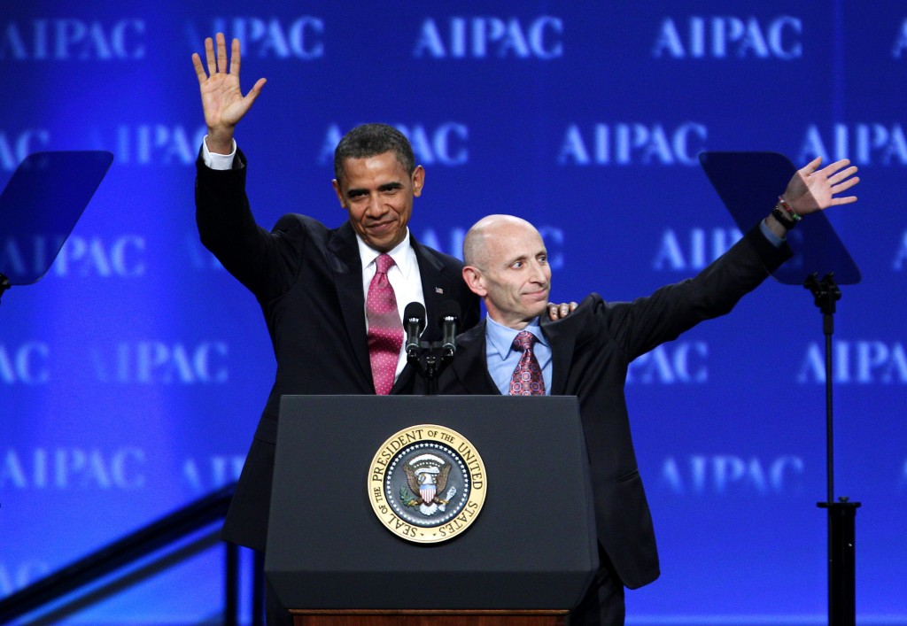 President Barack Obama and AIPAC President Lee Rosenberg wave to the crowd gathered at the AIPAC convention in Washington in May 2011. (photo credit: AP/Jose Luis Magana)