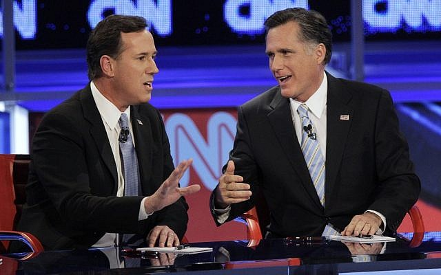 Rick Santorum (left) and Mitt Romney will join Newt Gingrich in addressing AIPAC (photo credit: AP/Jae C. Hong)