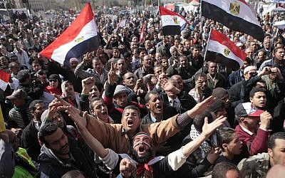 Egyptian protesters in Tahrir Square, Cairo (photo credit: Amr Nabil/AP)