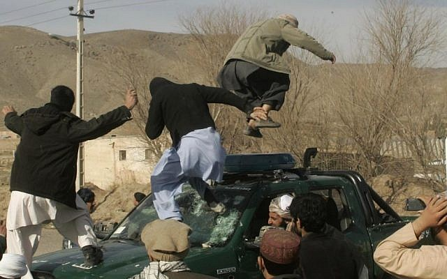 An anti-US demonstration in Afghanistan (photo credit: AP/Hoshang Hashimi)