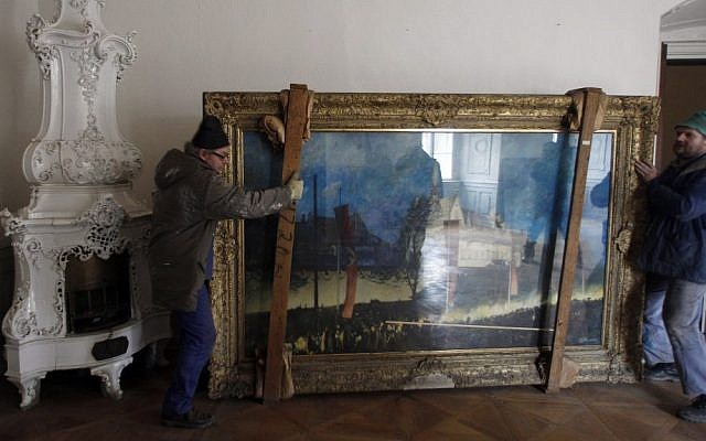 Painting by Paul Herrmann which was purchased by Adolf Hitler during WWII (photo credit: AP Photo/Petr David Josek)