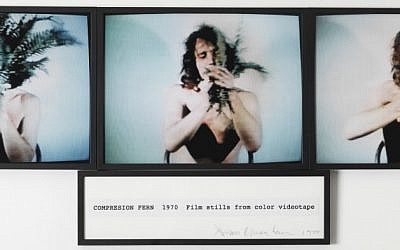 Dennis Oppenheim, Compression-Fern, 1970, film stills from color videotape (Courtesy: HaBeer)