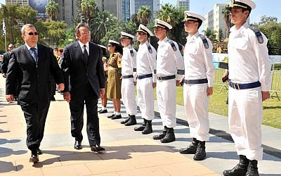 Ehud Barak and Leon Panetta in Tel Aviv in October (photo credit: Ariel Hermoni/Flash90)