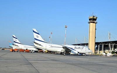 Illustrative photo of El Al planes at Ben-Gurion Airport (Shay Levi/Flash90)
