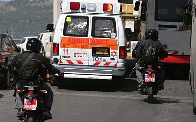 Illustrative photo of an Israeli ambulance (photo credit: Pierre Terdjman/Flash90)