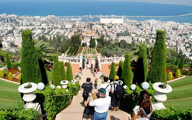 Terraces of the Bahai Gardens in Haifa overlooking the Mediterranean Sea (Oren Fixler/Flash90)