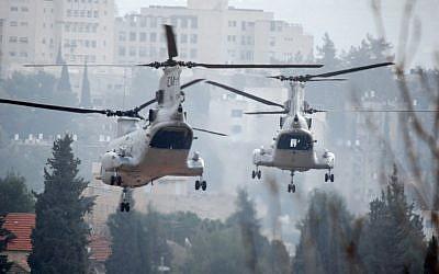 US Navy 'Sea Knight' helicopters (photo credit: Tsahi Ben-Ami/Flash90)