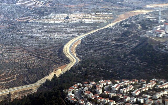 The security fence running through the hills near Jerusalem. (Yossi Zamir/Flash90)