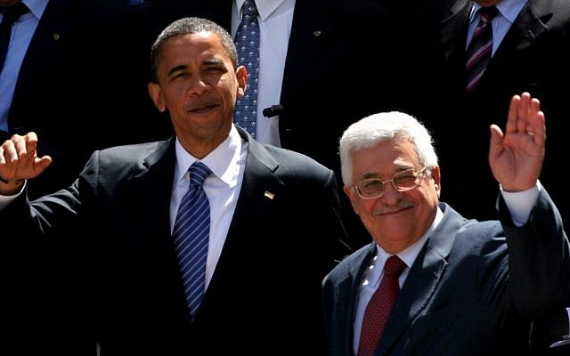 US President Barack Obama, left, and Palestinian Authority President Mahmoud Abbas in 2008 (photo credit: Issam Rimawi/Flash90/File)