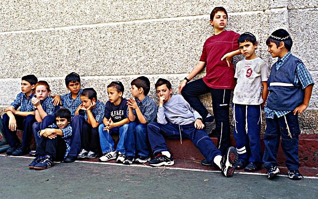 Jewish kids outside a Caracas school in 2005 (Photo credit: Serge Attal/Flash90)
