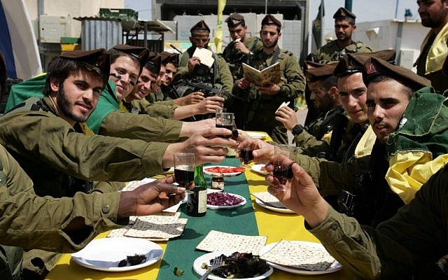 Golani soldiers during a Passover meal (photo credit: Edi Israel/Flash 90)