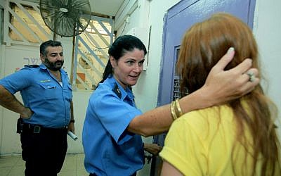 A female inmate at Neveh Tirza prison in Ramle (illustrative photo; credit: Moshe Shai/Flash90)