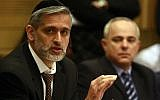 Eli Yishai (left) and Yuval Steinitz at a hearing about the Carmel fire, February 2010 (photo credit: Abir Sultan / Flash90)