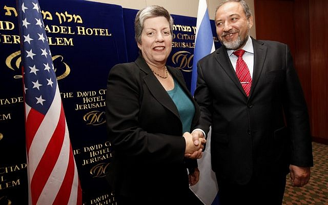 US Homeland Security Secretary Janet Napolitano with Foreign Minister Avigdor Lieberman in Jerusalem, January 2011 (photo credit: Miriam Alster/Flash 90)