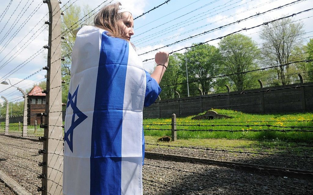 An Israeli student on the March of the Living Tour in Auschwitz in 2011.  (Photo by Yossi Zeliger/Flash90)