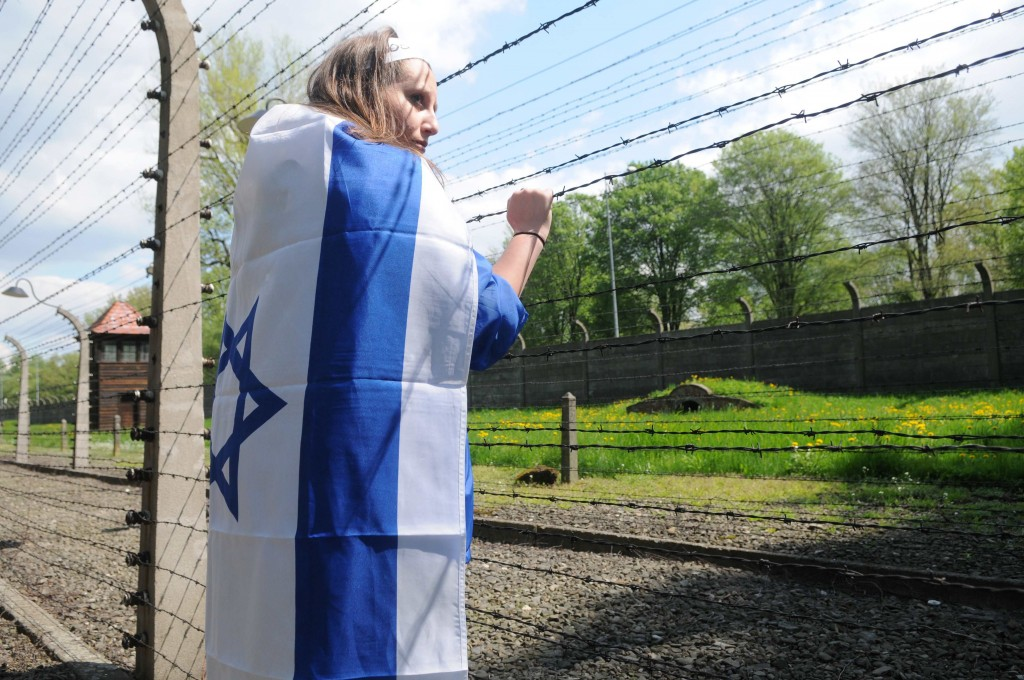 An Israeli student on the March of the Living Tour in Auschwitz in 2011. Radical academics sometimes compare Israelis to Nazis. (Photo by Yossi Zeliger/Flash90)