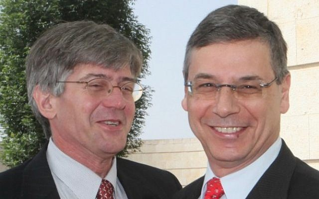 Danny Ayalon (right) with then-US Deputy Secretary of State James Steinberg (photo credit: Yossi Zamir/Flash90)