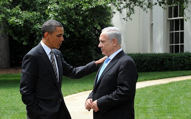 US President Barack Obama talks with Israeli Prime Minister Benjamin Netanyahu at the White House in 2012 (Avi Ohayon/Government Press Office/Flash90)