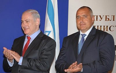 Benjamin Netanyahu (left) and Boyko Borisov at a meeting in Sofia, Bulgaria, July 2011 (photo credit: Moshe Milner / Flash90)