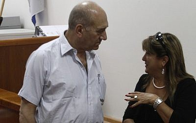 Ehud Olmert and Shula Zaken, September 2011 (photo credit: Uri Lenz/Flash90)