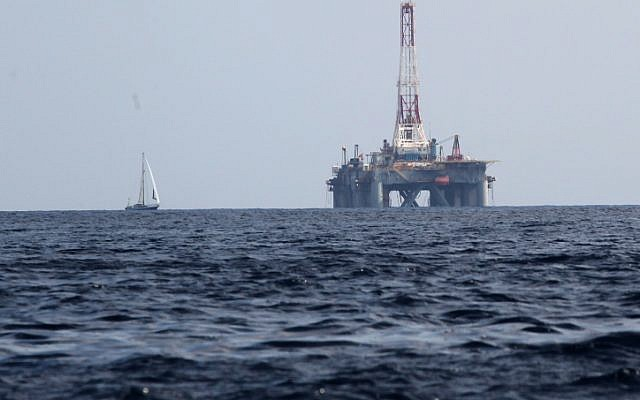 A deep-sea oil-drilling rig (photo credit: Nati Shohat/Flash90)