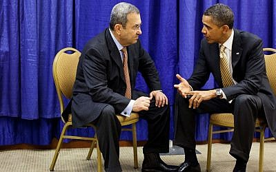 Ehud Barak, left, meeting with Barack Obama in December 2011. (photo credit: Official White House/Pete Souza/Flash90)