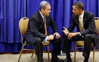 Ehud Barak, left, meeting with Barack Obama in December 2011. (photo credit: Official White House/Pete Souza/Flash90)