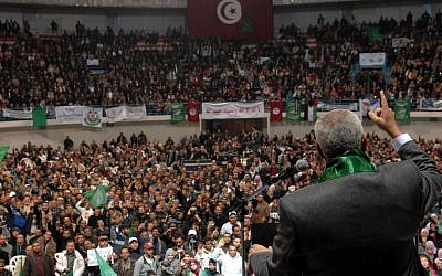 Hamas PM Ismail Haniyah speaks to a Tunisian crowd in January. (photo credit: Mohammed Al-Ostaz/Flash 90)
