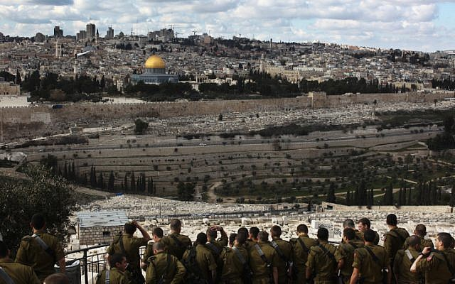 Soldiers visiting the Mount of Olives overlooking the Old City of Jerusalem (photo credit: Kobi Gideon/Flash90)