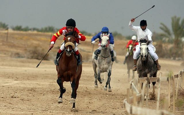Palestinian jockeys take part in a horse race in the West Bank city of Jericho. (photo credit: Issam Rimawi/Flash90)