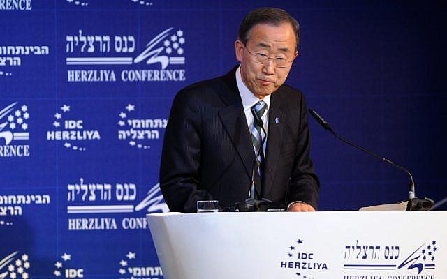 UN Secretary-General Ban Ki-moon, speaks during the Herzliya Conference  (photo credit: Gili Yaari/Flash 90)